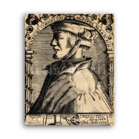 Printable Agrippa portrait - medieval alchemist, astrologist, occultist - vintage print poster