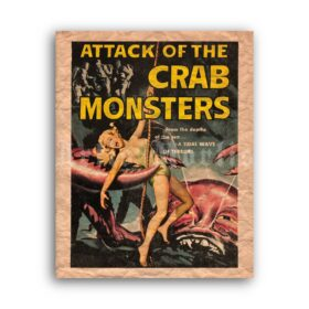 Printable Attack of the Crab Monsters - vintage 1957 horror movie poster - vintage print poster