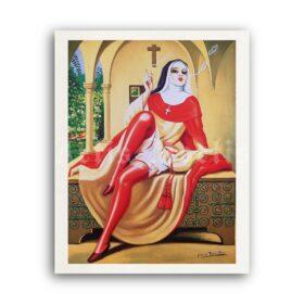 Printable Smoking sexy nun in red stockings - art by Clovis Trouille - vintage print poster