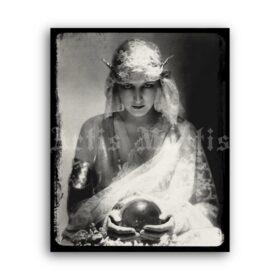 Printable Dolores Fortune Teller, gypsy girl, crystal ball - vintage photo - vintage print poster