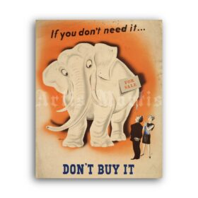 Printable Don't Buy It If You Don't Need It – vintage anti-consumerism poster - vintage print poster