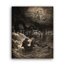 Printable Destruction of Leviathan - religious illustration by Gustave Dore - vintage print poster