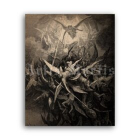 Printable Fall of Angels illustration for Paradise Lost, art by Gustave Dore - vintage print poster