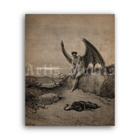 Printable Lucifer and snake - Paradise Lost illustration by Gustave Dore - vintage print poster