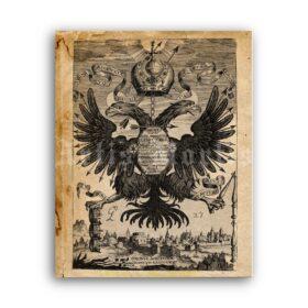Printable Double-Headed Eagle medieval emblem, Rome Empire art - vintage print poster