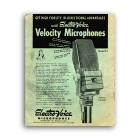 Printable Electro-Voice vintage ribbon microphone poster, studio decor - vintage print poster