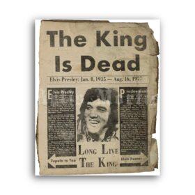 Printable Elvis Presley, King is Dead vintage newspaper poster - vintage print poster
