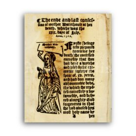 Printable The First Witch of England Trial - medieval inquisition print - vintage print poster