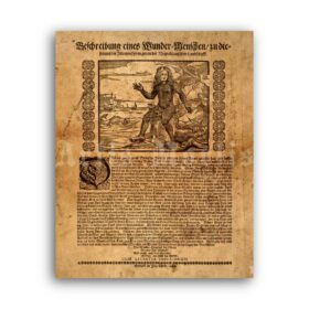 Printable Fishboy, Human Fish medieval freak show broadside poster - vintage print poster