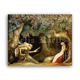 Printable Old Witch and Princess - John Bauer fairy tales art poster - vintage print poster