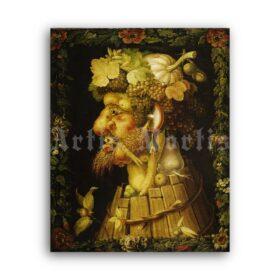 Printable Autumn, Four Seasons - painting by Giuseppe Arcimboldo - vintage print poster