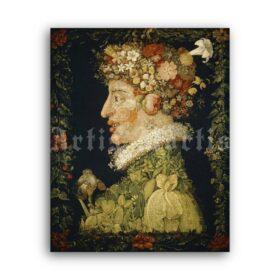 Printable Spring, Four Seasons - painting by Giuseppe Arcimboldo - vintage print poster