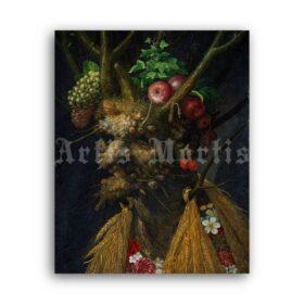 Printable Four Seasons in One Head - painting by Giuseppe Arcimboldo - vintage print poster