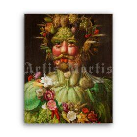 Printable Vertumnus, Emperor Rudolf II portrait by Giuseppe Arcimboldo - vintage print poster