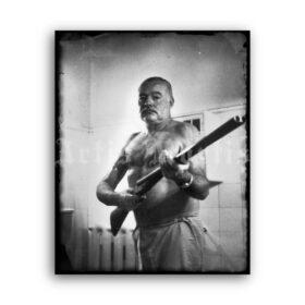 Printable Ernest Hemingway holding rifle - vintage 1959 photo poster - vintage print poster