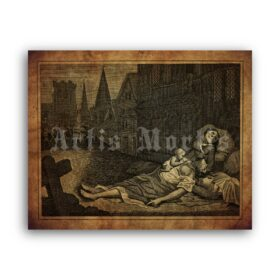 Printable Great Plague of London 1665 engraving, black death poster - vintage print poster