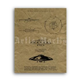 Printable Miethe-Belluzzo flying disc, military flying saucer poster - vintage print poster