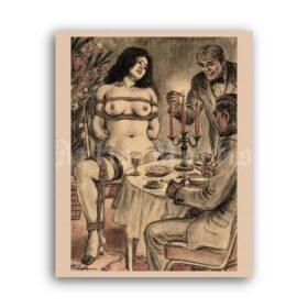 Printable Christmas dinner with the Master - BDSM art by Oki Shoji - vintage print poster