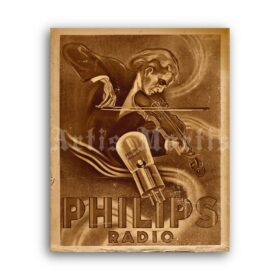Printable Philips radio tube vintage ad poster, retro audio, classical music - vintage print poster