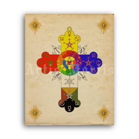 Printable Rose Cross poster, Rosicrucian, Golden Dawn, Masonic art - vintage print poster