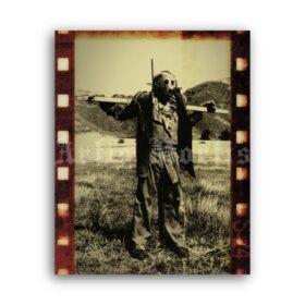 Printable Dark Night of The Scarecrow - creepy scarecrow photo print - vintage print poster