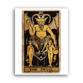Printable The Devil – Tarot Card print, Major Arcana, Greater Arcana poster - vintage print poster