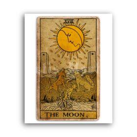 Printable The Moon – Tarot Card print, Major Arcana, Greater Arcana poster - vintage print poster