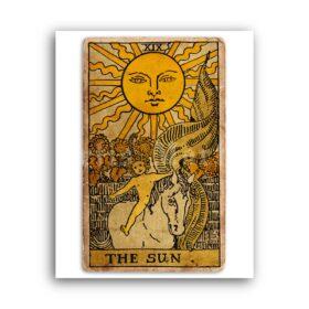 Printable The Sun – Tarot Card print, Major Arcana, Greater Arcana poster - vintage print poster