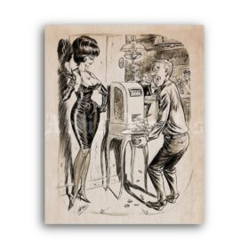 Printable Double Jackpot - vintage humour pin-up cartoon art by Bill Ward - vintage print poster
