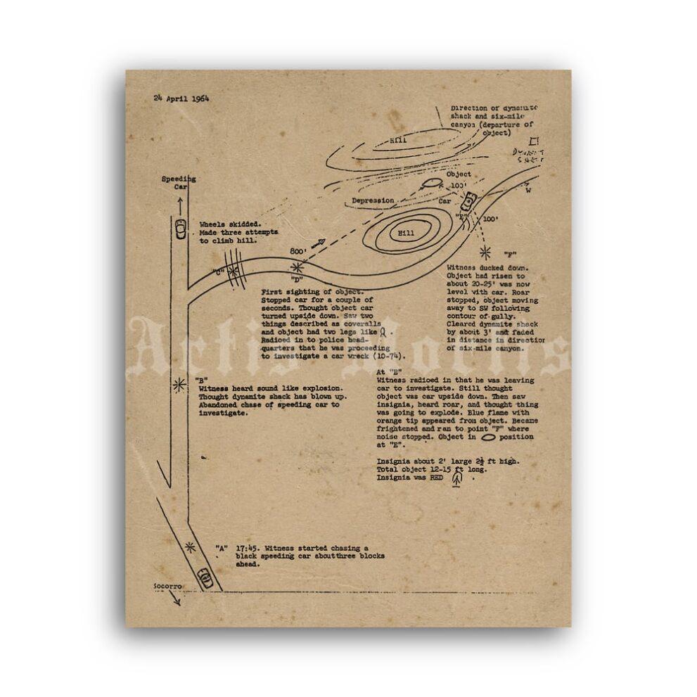 Printable Zamora UFO Incident report 1964, Socorro flying saucer poster - vintage print poster