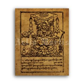 Printable Bardo Thodol, Tibetan Book of the Dead - antique manuscript page - vintage print poster