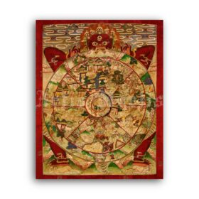 Printable Bhavacakra, Wheel of Life - Yama, Lord of Death, Tibetan art - vintage print poster