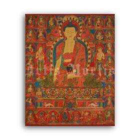 Printable Buddha Shakyamuni - antique Tibetan Buddhism art print - vintage print poster