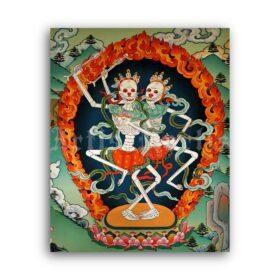 Printable Citipati, Dancing Skeletons - Tibetan Buddhism deity art print - vintage print poster