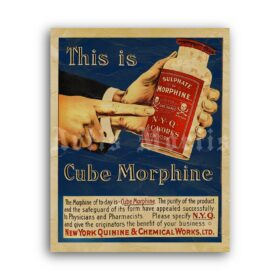 Printable Cube Morphine - vintage pharmacy, apothecary, medical poster - vintage print poster