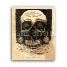 Printable Death's Laboratory - vintage medical anti Laudanum art poster - vintage print poster