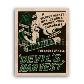 Printable Devil's Harvest – 1930s Refer Madness anti Marijuana film poster - vintage print poster