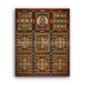 Printable Diamond Realm, Mandala of Diamond World metaphysical art - vintage print poster
