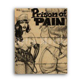 Printable Prison of Pain - fetish comix cover art by Gene Bilbrew Eneg - vintage print poster