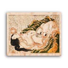 Printable Dream of the Fisherman's Wife - Katsushika Hokusai shunga art - vintage print poster