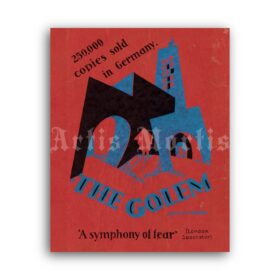 Printable The Golem by Gustav Meyrink - 1st American edition cover poster - vintage print poster