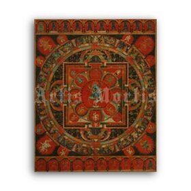 Printable Mandala of Hevajra - vintage Tibetan Buddhism, Tantra art - vintage print poster