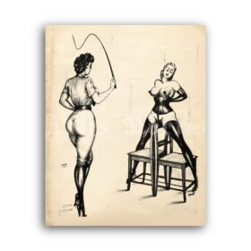 Printable Torture by chairs - fetish BDSM illustration by Jim of Germany - vintage print poster
