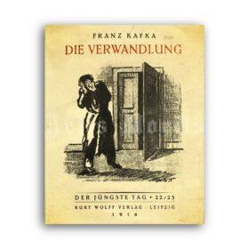 Printable Franz Kafka - The Metamorphosis novel 1916 title page poster - vintage print poster