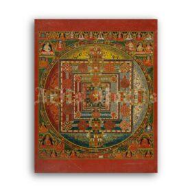 Printable Kalachakra Mandala - vintage Tibetan Buddhist art, Wheel of Time - vintage print poster