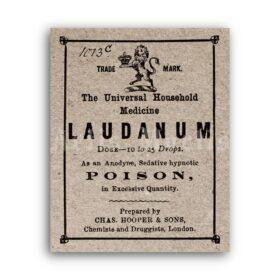 Printable Laudanum Poison - vintage apothecary label, opium poster - vintage print poster