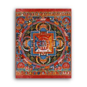 Printable Mandala of Jnanadakini  - vintage Tibetan Buddhist Vajrayana art - vintage print poster