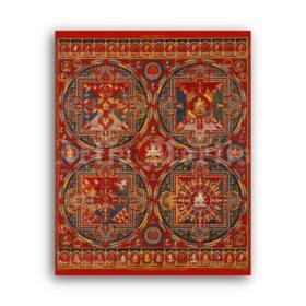 Printable Mandalas of the Vajravali Cycle  - vintage Tibetan Buddhist art - vintage print poster