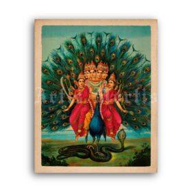 Printable Murugan, god of war - Kartikeya, Skanda, Kumara, Hindu art - vintage print poster