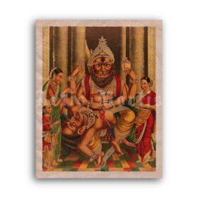 Printable Narasimha killing demon Hiranyakasipu - Hindu art, Vaishnavism - vintage print poster